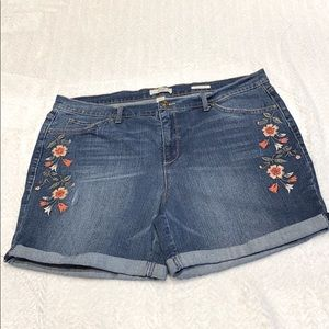 Vintage America Bestie Jean short cuff Embroidered